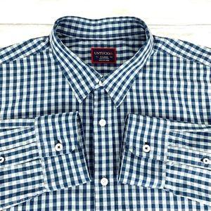 UNTUCKit Men's Long Sleeve Shirt Blue Plaid Check